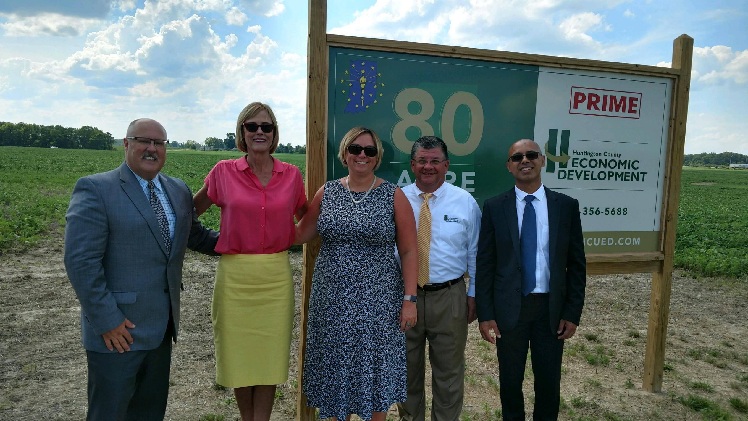 Brian Snyder, Indiana Lt. Governor Suzanne Crouch, OCRA executive director Jodi Golden, Huntington County EDC director Mark Wickersham and Sanjay Shukla of 528 Financial.
